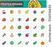 fruits and vegetables line... | Shutterstock .eps vector #526026634