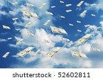 raining money from the blue sky  | Shutterstock . vector #52602811