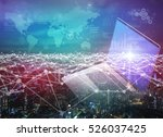 mixed media of laptop pc and... | Shutterstock . vector #526037425