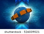 globe with folder and wifi   3d ... | Shutterstock . vector #526039021