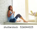 she looks delighted  happy and... | Shutterstock . vector #526044325