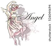 angel girl sketch isolated on... | Shutterstock .eps vector #526044694