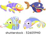illustration of a fish on a... | Shutterstock .eps vector #52605940