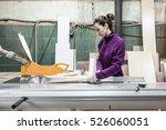 women worker using saw machine...   Shutterstock . vector #526060051