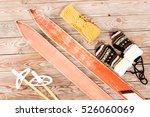 overhead view of retro ski... | Shutterstock . vector #526060069