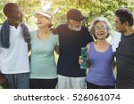 senior group friends exercise... | Shutterstock . vector #526061074