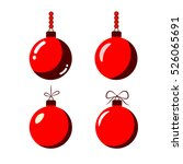 christmas tree ball with bow... | Shutterstock .eps vector #526065691