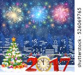 happy new year and merry... | Shutterstock .eps vector #526069765