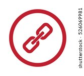 flat red links icon in circle... | Shutterstock . vector #526069981