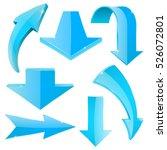 set of blue arrow. 3d... | Shutterstock . vector #526072801