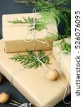 wrapping rustic eco christmas...   Shutterstock . vector #526076095