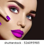 beauty brunette woman with... | Shutterstock . vector #526095985
