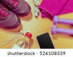 sport stuff on wooden table ...   Shutterstock . vector #526108339