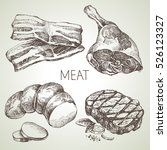 hand drawn sketch meat products ... | Shutterstock .eps vector #526123327