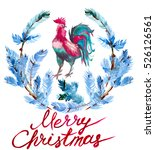 watercolor christmas wreath... | Shutterstock . vector #526126561