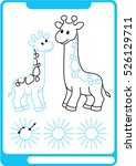 two giraffe. preschool... | Shutterstock .eps vector #526129711