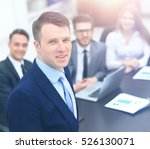 young businessman looking at... | Shutterstock . vector #526130071