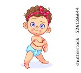 charming strong baby girl with... | Shutterstock .eps vector #526136644