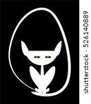 white cat like a demon  symbol  ... | Shutterstock .eps vector #526140889
