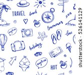 hand drawn travel seamless... | Shutterstock .eps vector #526141129