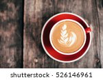 red cup of cappucino with... | Shutterstock . vector #526146961