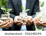 business people holding glass... | Shutterstock . vector #526148194