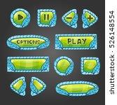 cartoon green buttons with blue ...