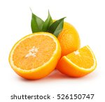 ripe oranges with the leaves... | Shutterstock . vector #526150747