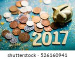 piggy bank and pound gbp coins | Shutterstock . vector #526160941