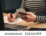 woman writing contact list from ... | Shutterstock . vector #526161499