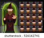 witch brown wizard cartoon... | Shutterstock .eps vector #526162741