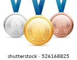 shiny gold  silver and bronze... | Shutterstock . vector #526168825