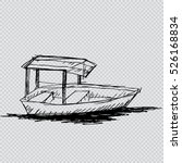 Wooden Boat. Sketchy Style.