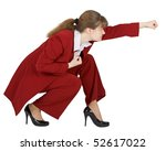 Businesswoman sits in a combat position on a white background - stock photo