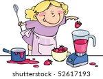 tablier,bébé,mélangeur,bleu,bols,enfant,chez les enfants,cuisson,tasses,sale,plats,alimentaire,amusement,drôle,fille