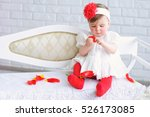 adorable baby girl in white and ... | Shutterstock . vector #526173085