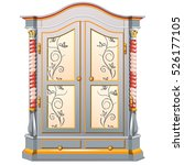 vintage wardrobe with patterned ... | Shutterstock .eps vector #526177105