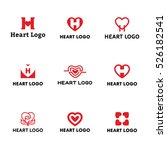 heart logo vector icon set. red ... | Shutterstock .eps vector #526182541