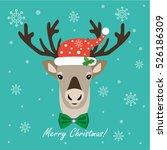 christmas northern deer. flat... | Shutterstock .eps vector #526186309