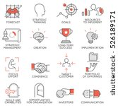 vector set of flat linear icons ... | Shutterstock .eps vector #526189171