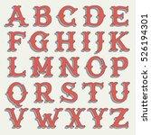 retro western alphabet with... | Shutterstock .eps vector #526194301