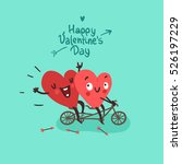 two happy hearts in love biking.... | Shutterstock .eps vector #526197229