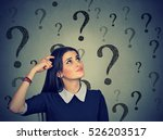 portrait confused thinking... | Shutterstock . vector #526203517