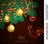 christmas card. fire rooster  ... | Shutterstock .eps vector #526205569