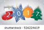 2017 new year tags on a snowy... | Shutterstock .eps vector #526224619
