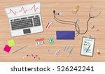 wooden doctors desk with laptop ... | Shutterstock . vector #526242241