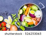 vegetable stock or broth ... | Shutterstock . vector #526253065