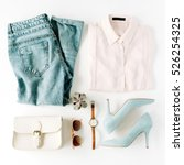 Small photo of woman trendy fashion clothes collage on white, flat lay, top view