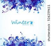watercolor winter leaves... | Shutterstock .eps vector #526259611