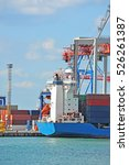 port cargo crane  ship and... | Shutterstock . vector #526261387
